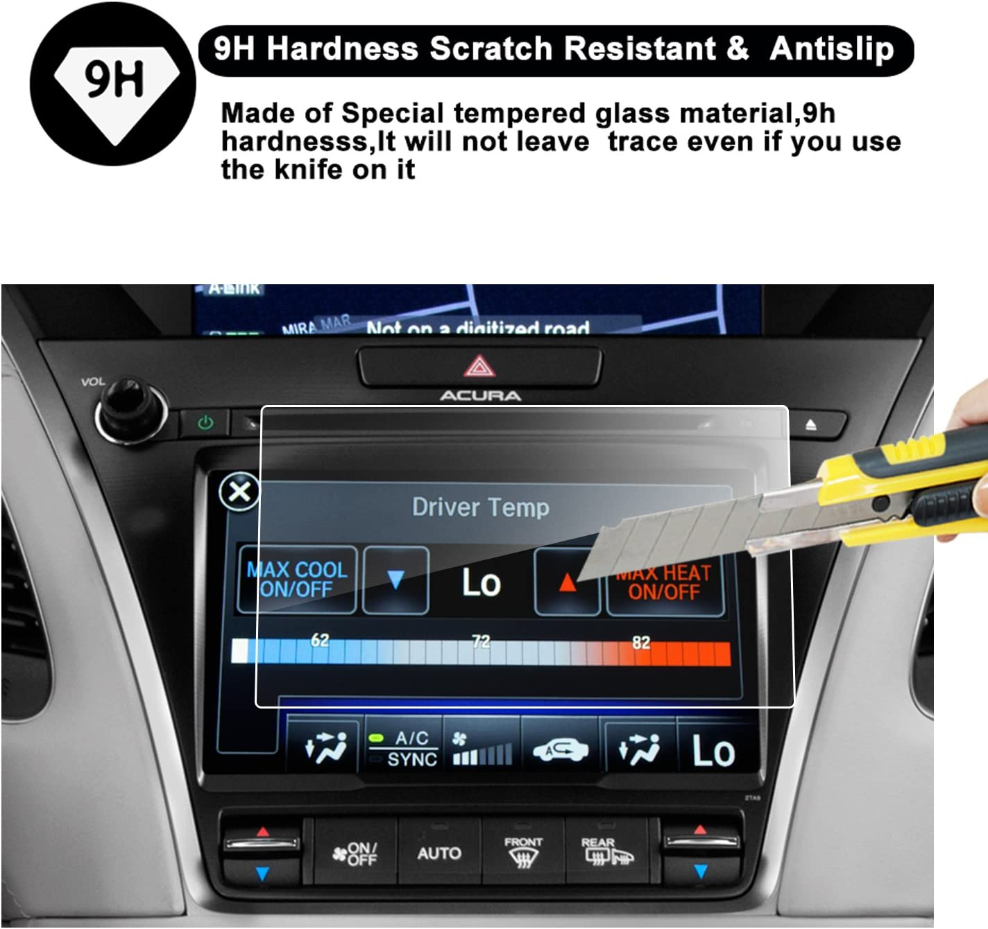 2014-2018 Acura MDX ODMD Display 7-Inch Lower Touch Screen Protector R RUIYA HD Clear TEMPERED GLASS Guard Shield Scratch-Resistant Ultra HD Extreme Clarity MDX-7