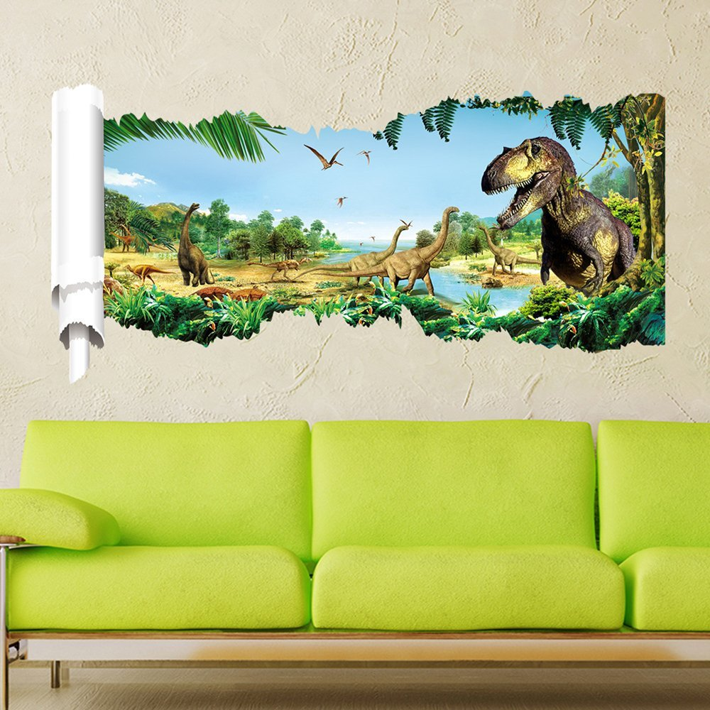 Big dinosaurs in jurassic park jungle wall art stickers colourful