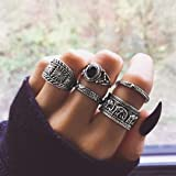BERYUAN Vintage Casual Women Statement Silver Ring Set Elephant Balck Onyx Ring Gift For Her Gift For Girls Teens 5Pcs