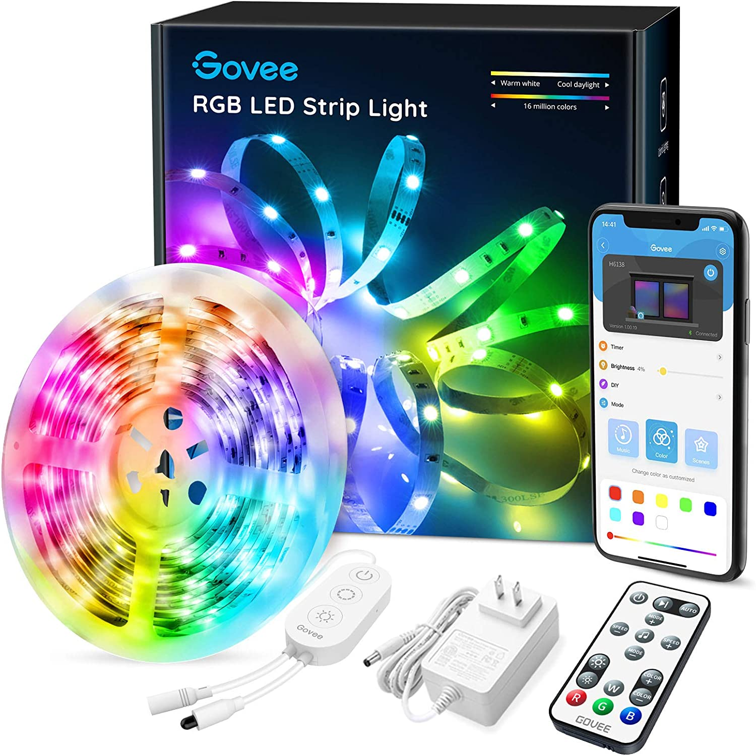 LED Strip Lights Bluetooth, Govee 16.4FT LED Color Changing Lights with APP Control, Remote and Control Box, 20 Scenes Mode and Music Sync LED Lights for Room, Kitchen, Party (3 Ways Control): Home Improvement