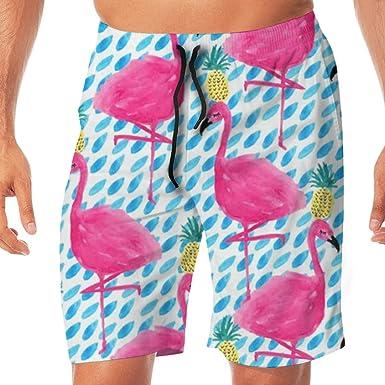 Beach Shorts Walking Flamingos Mens Board Shorts