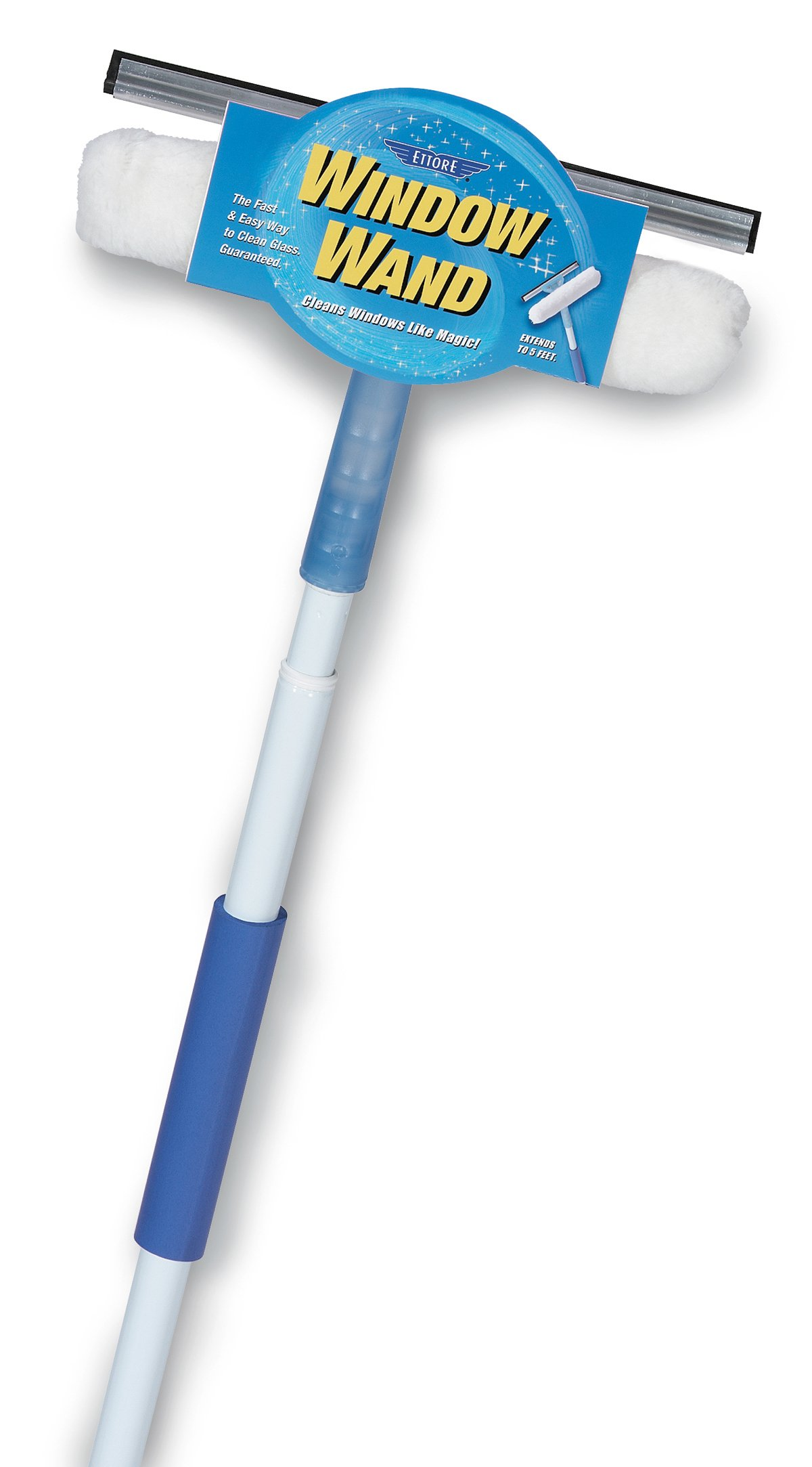 Ettore Window Wand Squeegee and Washer Combo Tool, 5 Feet Handle