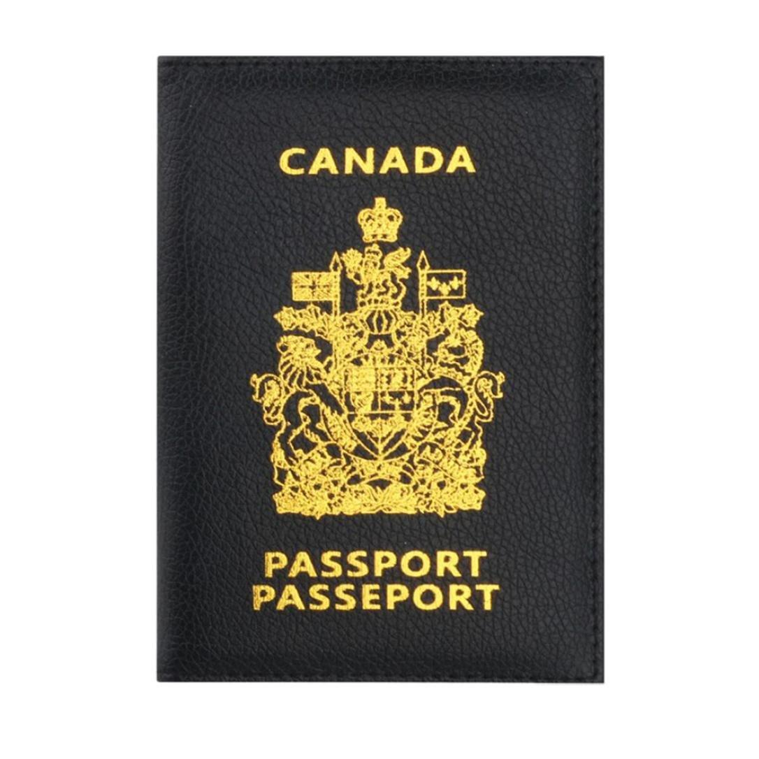 Women Men Passport Holder Protector Wallet Business Card Soft Passport Cover Bag (Black)