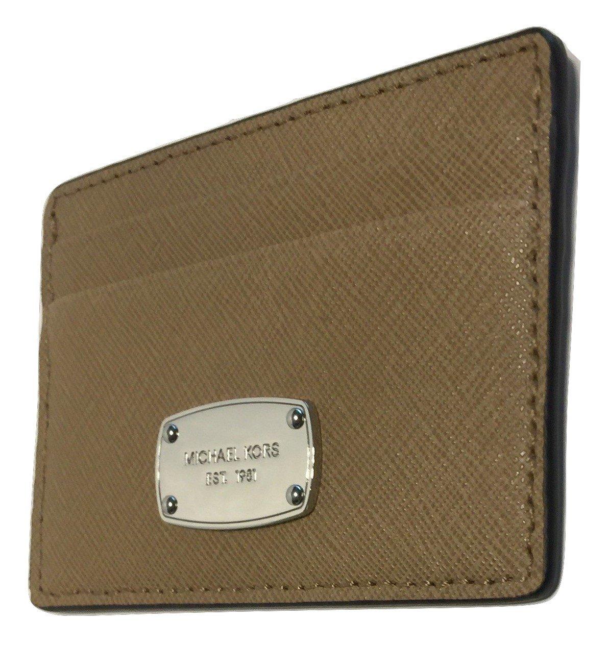 Michael Kors Jet Set Travel Credit Card Holder Case Saffiano Leather (DK Khaki)