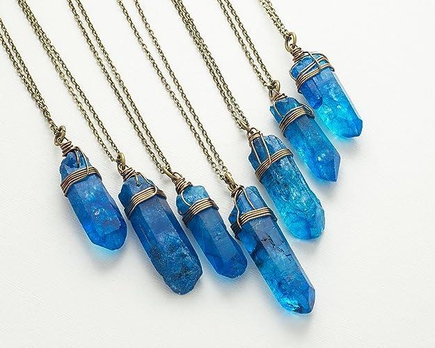 Amazon raw dark blue crystal quartz point antique bronze chain raw dark blue crystal quartz point antique bronze chain pendant necklace 23 in aloadofball Images