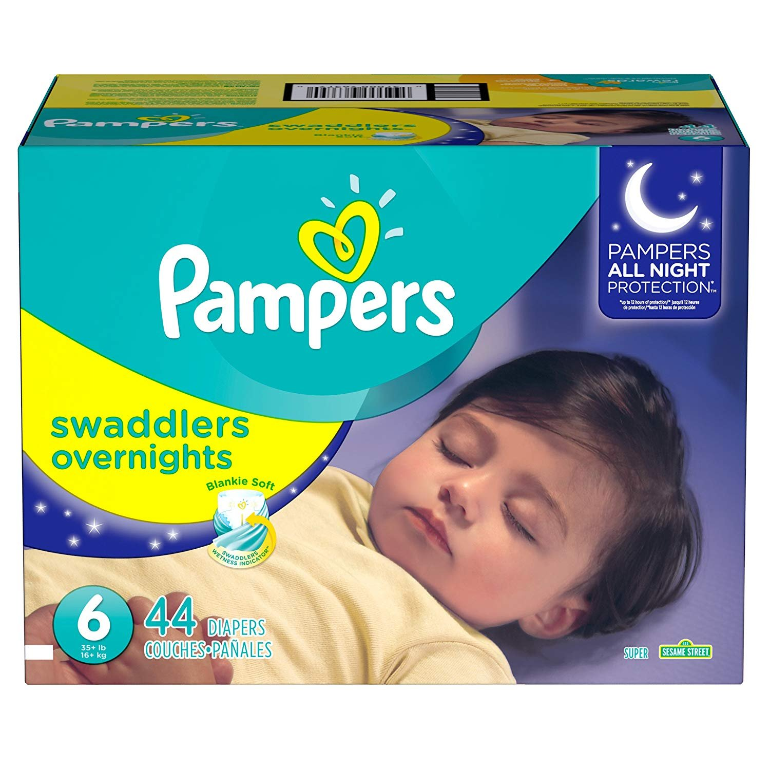 Pampers Swaddlers Overnights Disposable Diapers Size 6, 44 Count, SUPER