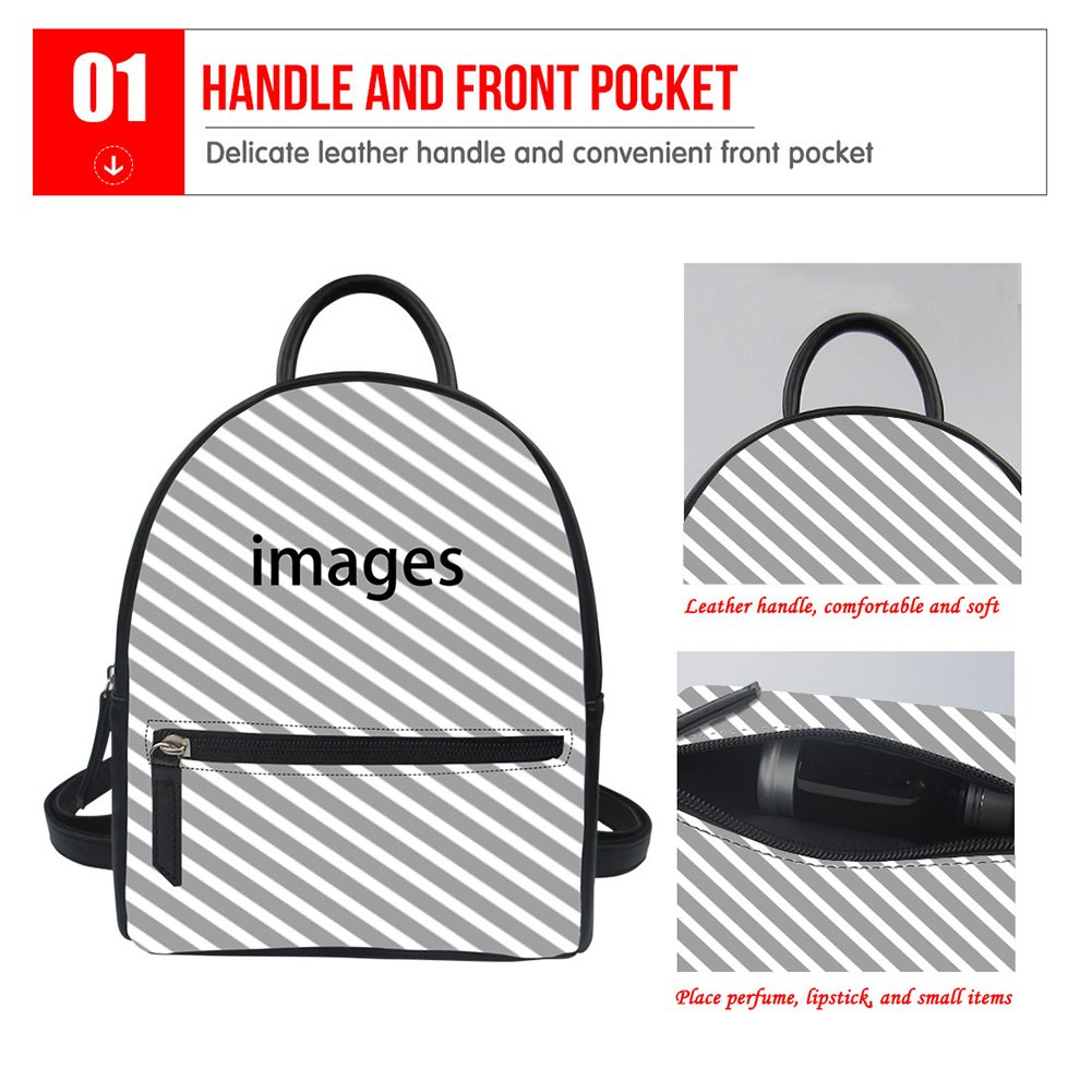 Mumeson Cartoon Print Women Mini Purse Backpack Leather Teen Girls Casual Daypack