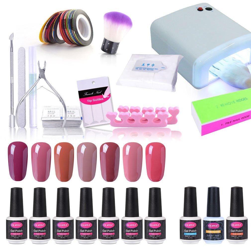 Amazon.com : CLAVUZ Gel Nail Polish Kit with UV Light 23PCS Soak Off ...