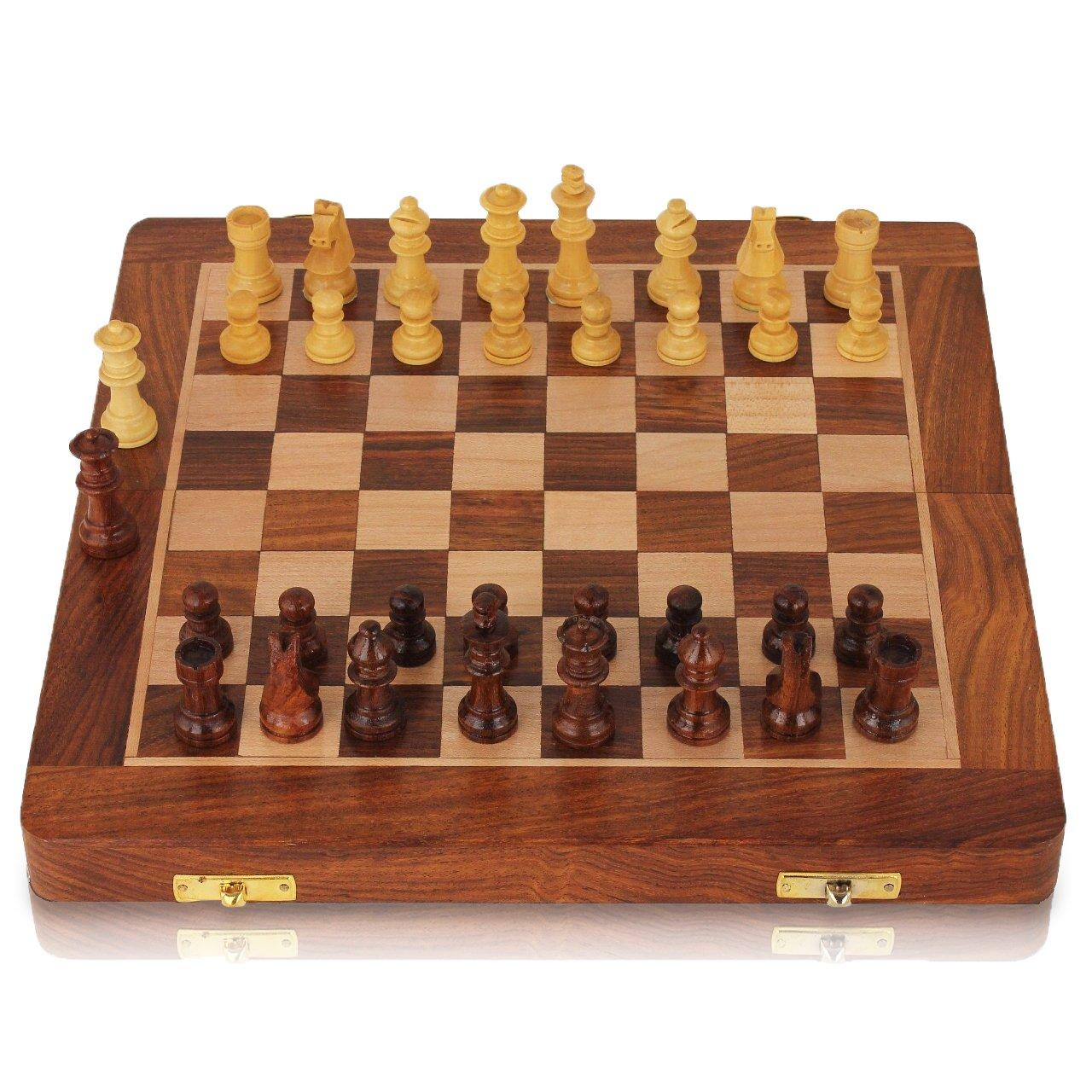 Jeu d'échecs - Jeu d'échecs en bois pour voyage Jeu d'échecs magnétique pour enfants, adultes Jeu d'échecs pliable Tournoi de jeu d'échecs de 10.5'' rassemble la famille en plein air Conçu à la main avec 2 reines supplémentaires Super Samar