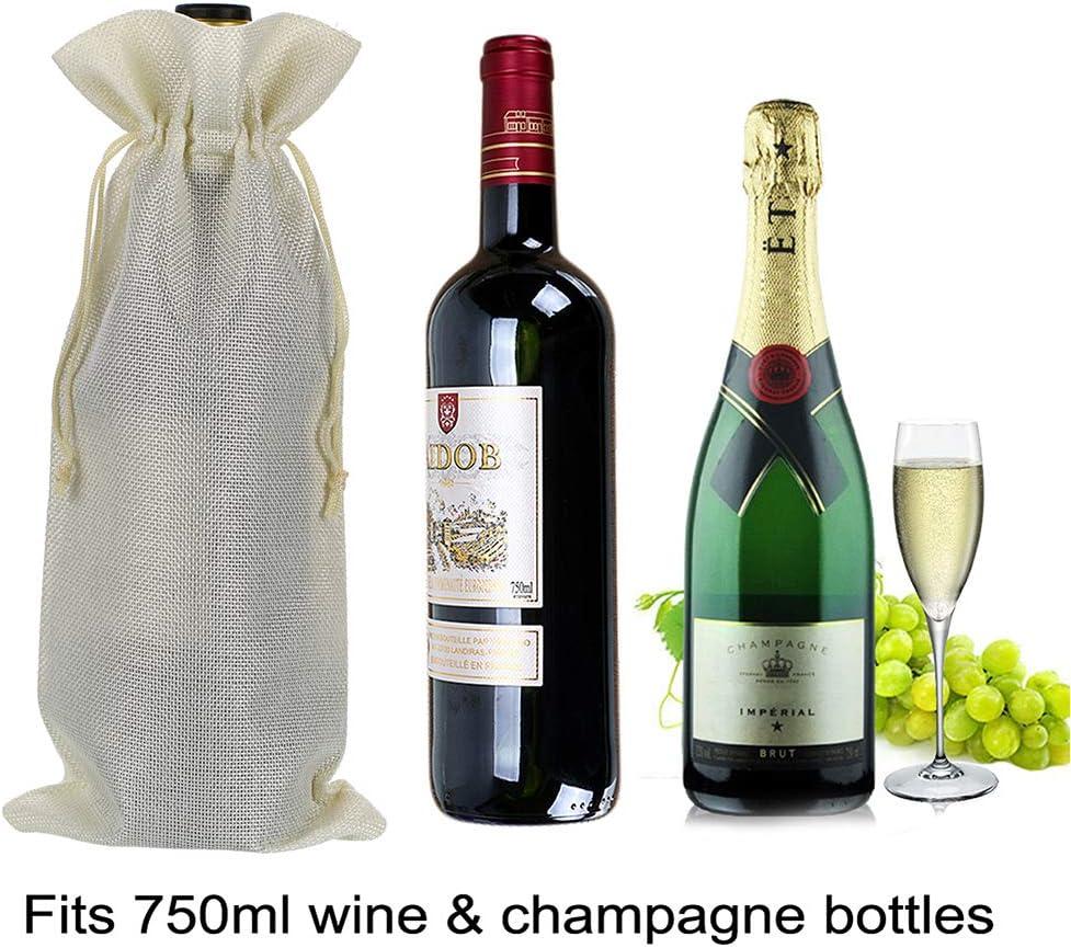 BTSKY 12pcs Reusable Washable Jute Wine Bottle Bags Drawstring Bag Wine Red Jute Bag Storage Case Organizer Burlap Gift Bag with Drawstring Wine Bottle Not Included