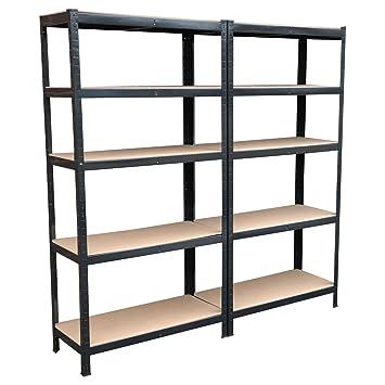 Lot de 2 étagères 5 niveaux en métal solide sans boulons pour