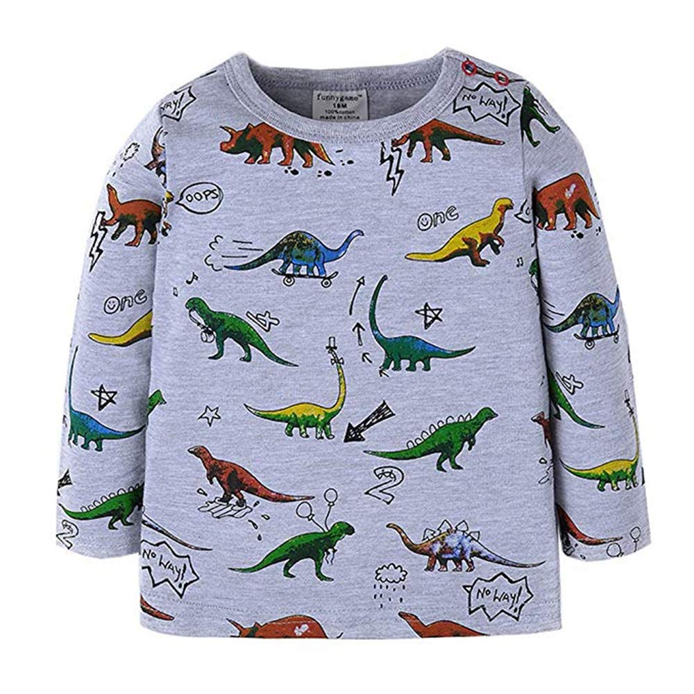BABSUE Toddler Boys Dinosaur T-Shirt Long Sleeve Sweatshirts Cotton Pullover Crewneck Cartoon Tops Tees Kids 1-8T