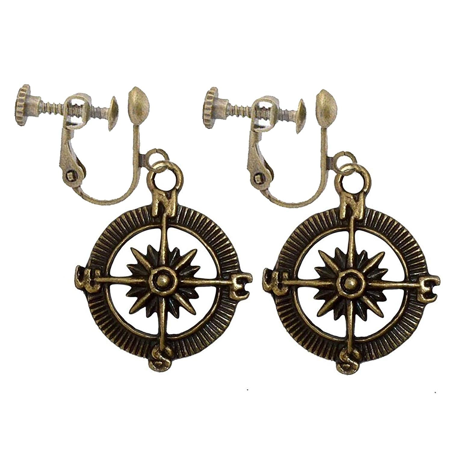 Vintage Steampunk Nautical Pirate Compass Clip on Earrings Pendant Charm Dangle in Antique Style Girls