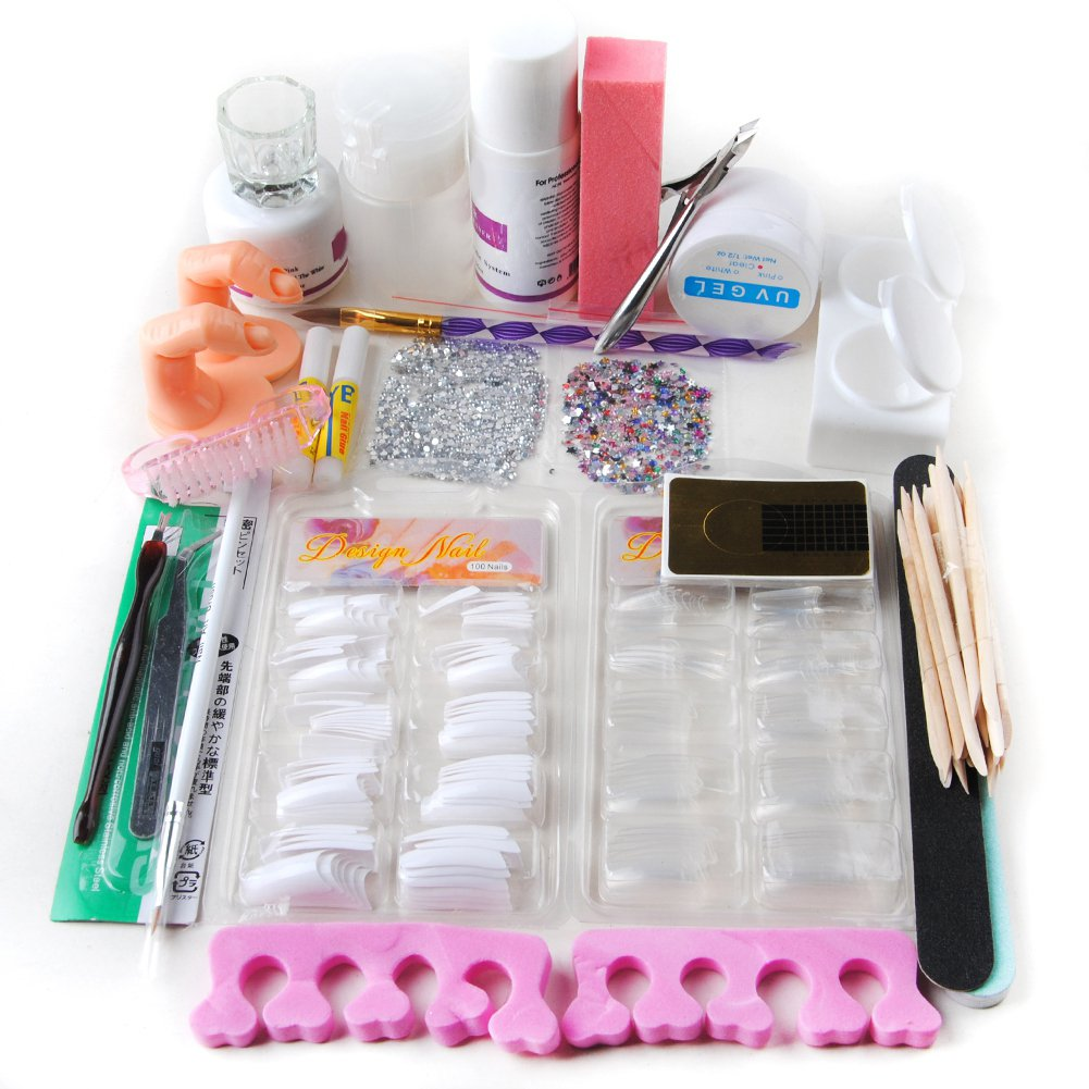 Coscelia Nail Art Kit Acrylic Powder Liquid UV Gel Buffer Set