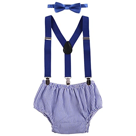 a7c1dc788 Baby Boy Cake Smash Outfit First Birthday Bowtie Adjustable Suspenders  Clothes set Blue Plaid One Size: Amazon.ca: Luggage & Bags