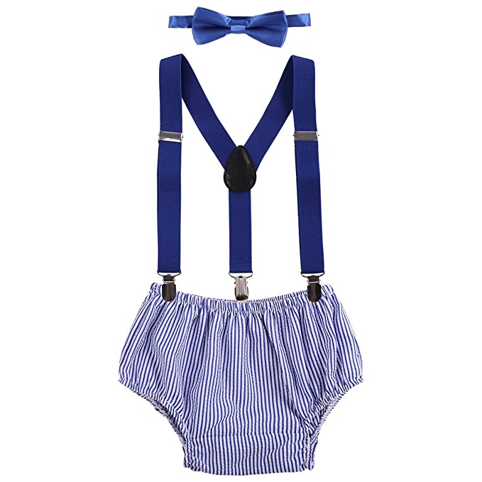 f371ab88f3a Amazon.com: Cake Smash Baby Boy 1st Birthday Suspender Bottoms Bowtie  Outfit Photo Props deep Blue Striped: Clothing