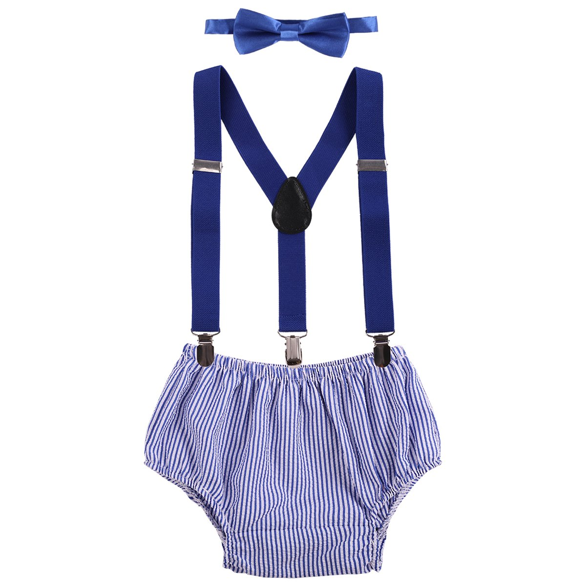Baby Boys Cake Smash Outfit First Birthday Bloomers Bowtie Adjustable Y Back Suspenders Clothes set Royal Blue Striped One Size