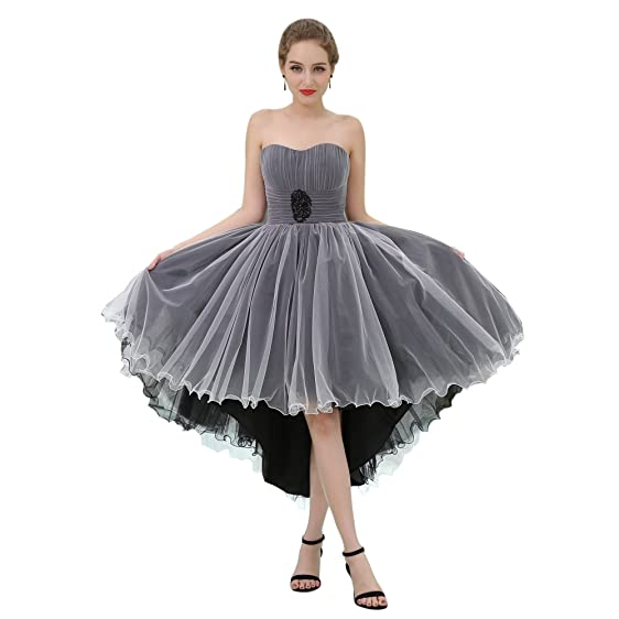 YSMei Women\'s Strapless High Low Prom Party Dresses Short Tulle Ball ...