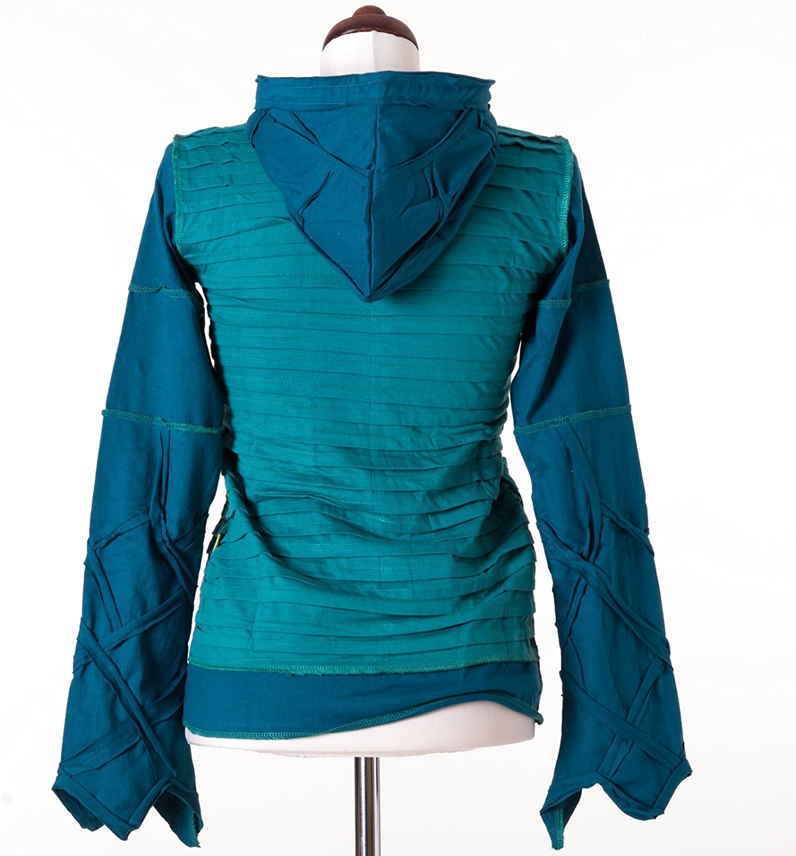 Vishes – Alternative Bekleidung – Kurze Goajacke aus Baumwolle mit Kapuze Türkis