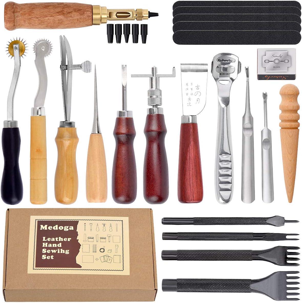 Kit de herramientas de perforación de piel, 18 piezas de costuras para tallar, costura, sillín de costura, cuero para manualidades, herramientas de bricolaje 18