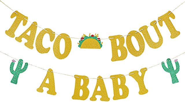 Amazon Com Gold Glittery Taco Bout A Baby Banner Mexican Fiesta Themed Baby Shower Decoration Supplies Toys Games