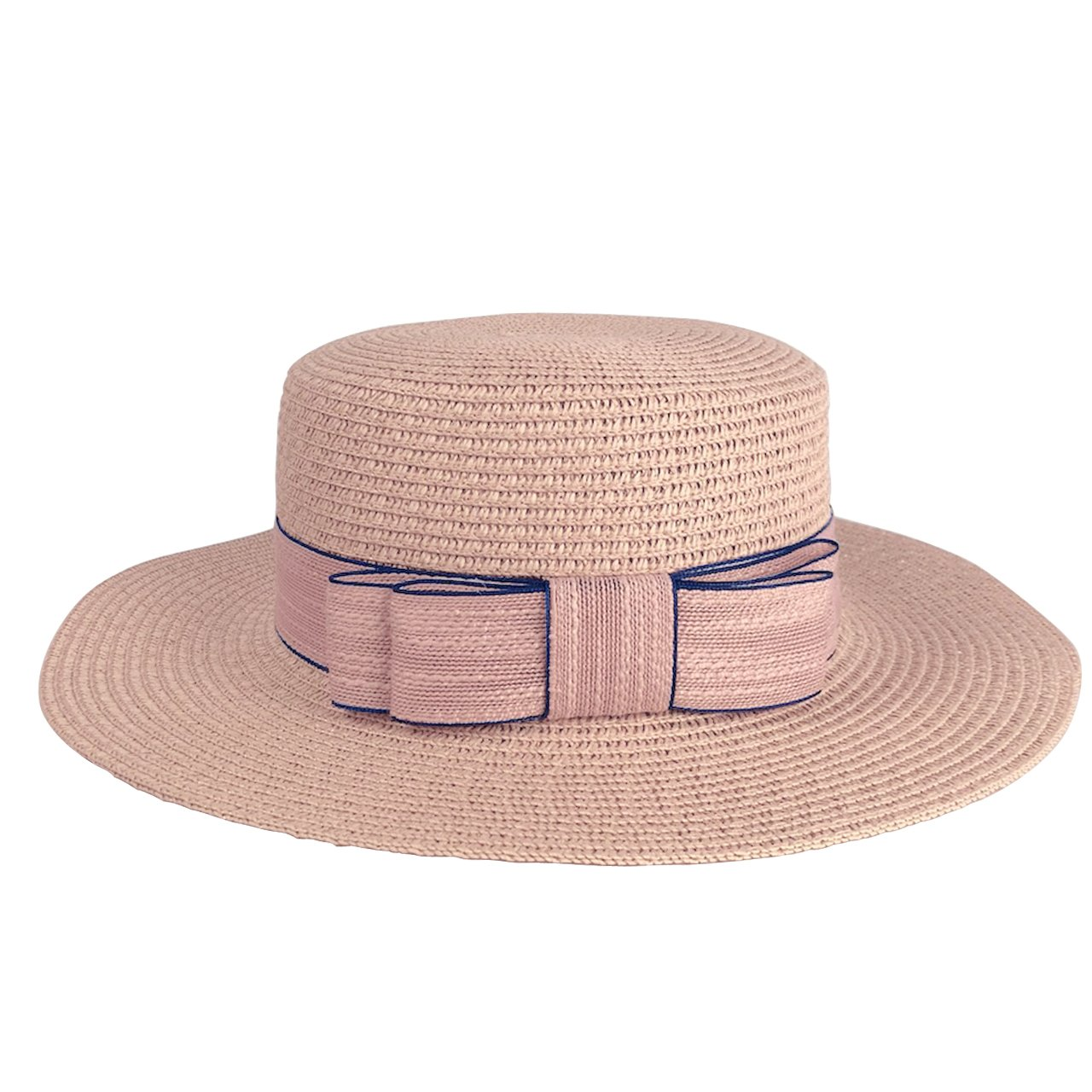 CHIC DIARY Women Bowknot Straw Hat Summer Fedoras Wide Brim Sun Hat (Pink)