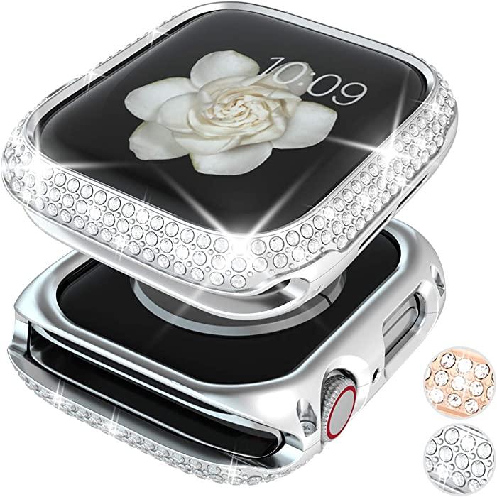 Goton Bling Case Compatible for Apple Watch Case 44mm Series 6 /5 /4 /SE, Women Girl Luxury Sparkling Crystal Diamond Stainless Metal Bezel Case Cover for iWatch Series 6 /5 /4 /SE (Silver, 44mm)