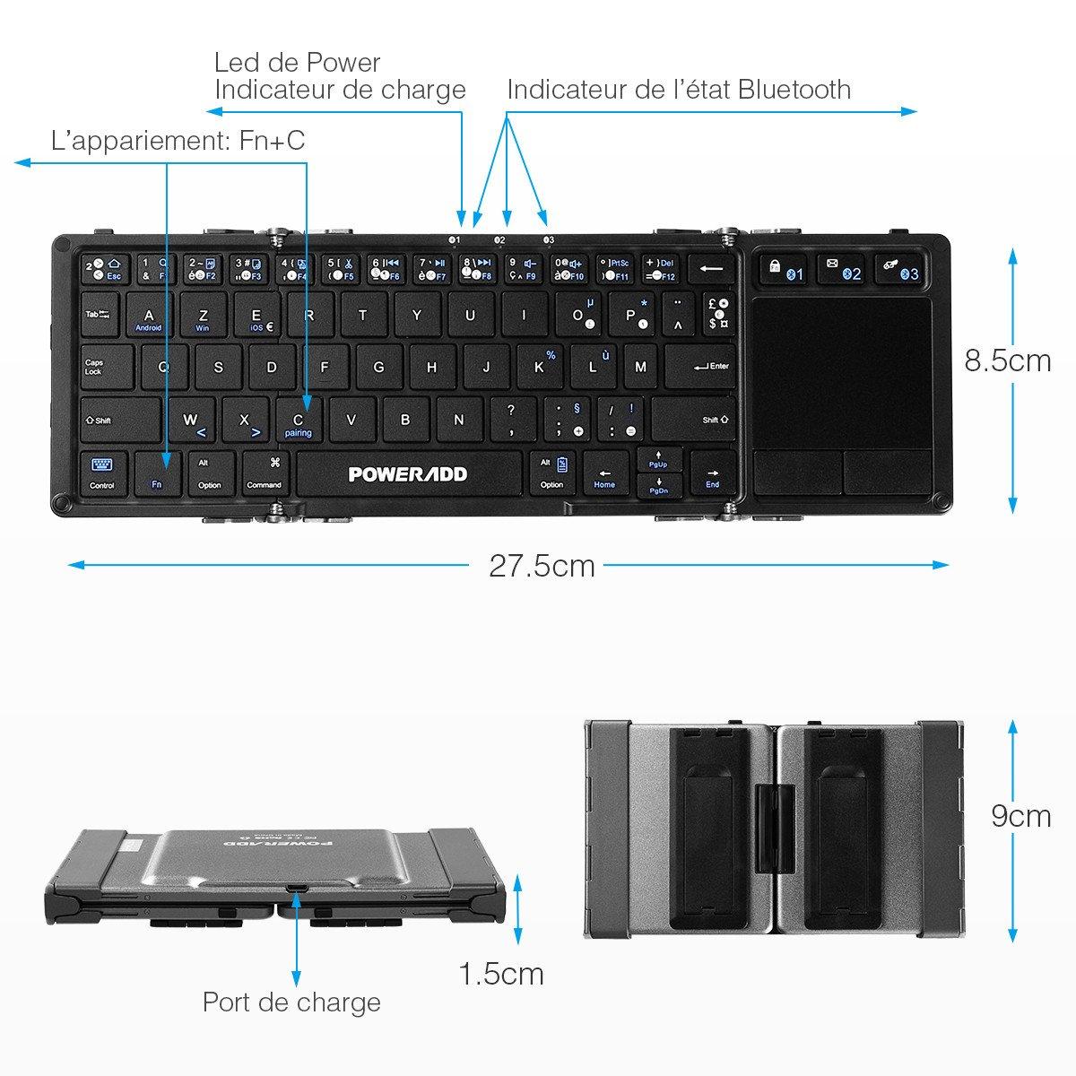 POWERADD Clavier Bluetooth AZERTY Pliable et Portable avec Pavé Tactile pour iOS, Android et Windows, Connecter Trois Appareils en Même Temps