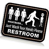 "Bigtime Signs Funny Bathroom Sign for Restroom 11.5"" x 8.75"" Rigid PVC | All Gender Bigfoot & Alien Wash Your Hands Please"