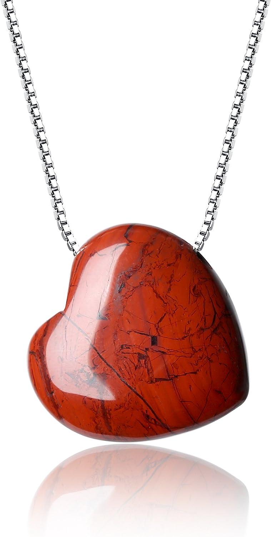 coai collar de mujer de plata 925con colgante corazón de jaspe rojo