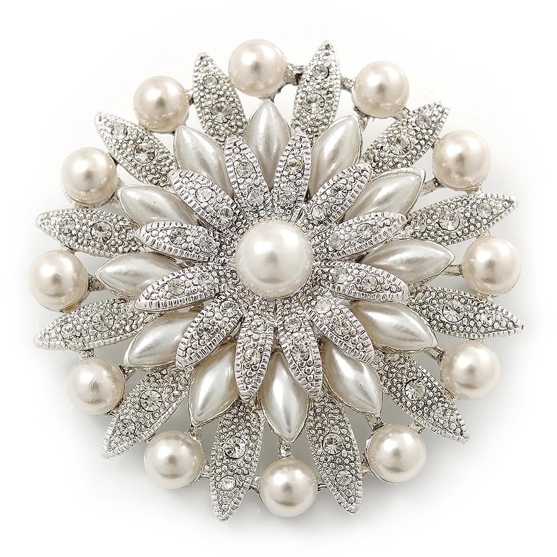 Bridal Vintage Inspired White Simulated Pearl, Austrian Crystal Layered Floral Brooch In Rhoduim Plating - 50mm Diameter