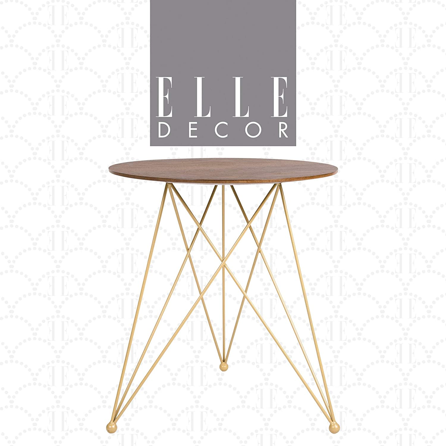 "Elle Decor Livvy Round Wood and Metal Side Table with Tripod Legs, Small Modern Living Room Accent Nightstand, 20"" Tabletop Height, Walnut Brown and Gold"