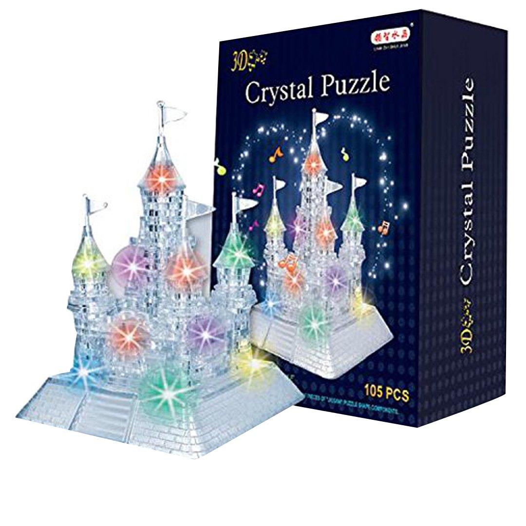 AiSi 3D Crystal Puzzle Jigsaw DIY Crystal Castle Blocks Office Desk Toy Light-Up Musical, 105pcs pt-06