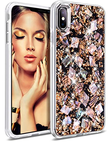 Honey Ake Case For I Phone Xs Max, Luxury Glitter Bling Sparkle Cute Pretty Handmade Genuine Shell Shockproof Protective Phone Cover Case For Girls Women For I Phone Xs Max 6.5 Inch(Rose Gold) by Honey Ake