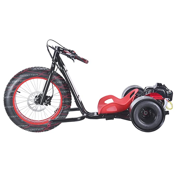 ScooterX Drift Master 2,5 CV 49 cc Drift trike Drifting Big Wheel Go Kart 30 mph. Rojo Borde + asiento con marco negro [534r]: Amazon.es: Deportes y aire ...