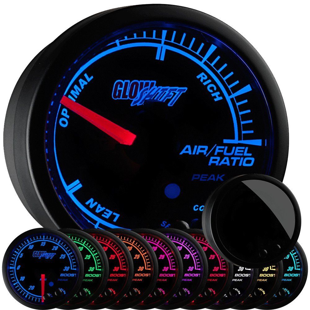 "GlowShift Elite 10 Color Narrowband Air/Fuel Ratio AFR Gauge - Lean, Optimal & Rich Readings - Black Dial - Tinted Lens - Peak Recall Function - 2-1/16"" 52mm"