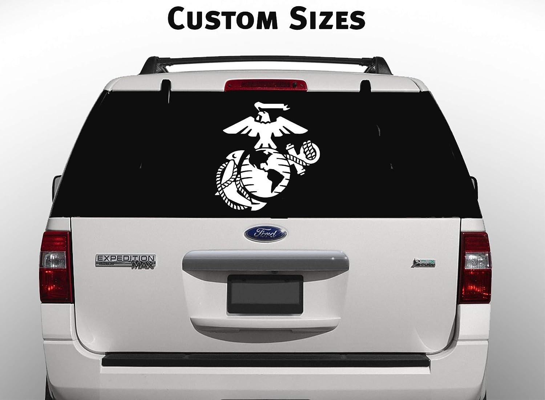 Amazon com usmc marine corps eagle globe anchor white usmc car decal window stickers large handmade