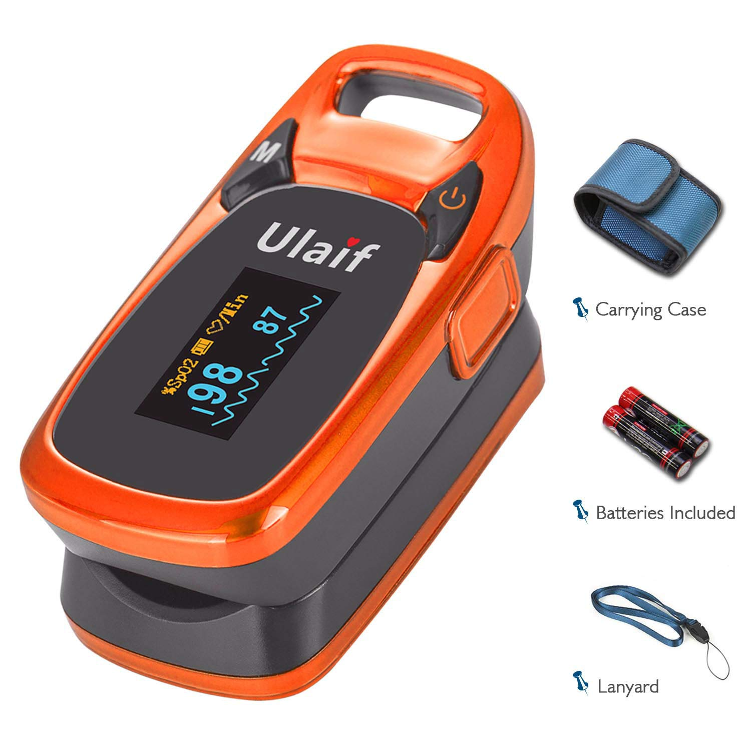 Ulaif Fingertip Pulse Oximeter, OLED Portable Oximetry Blood Oxygen Saturation Monitor SpO2 Finger Pulse Oximeter Readings with Carrying Case/Lanyard/Silicon Case/Batteries