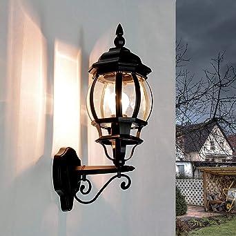 Aplique rústico de exterior Brest en negro / IP43 E27 hasta 60W / Aplique en forma de linterna para exterior resistente a la intemperie para patio y jardín: Amazon.es: Iluminación