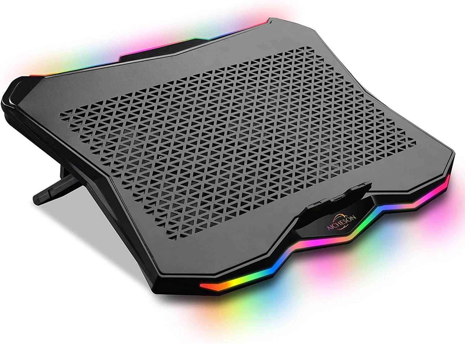 AICHESON Laptop Cooling Cooler Pad 15.6-17.3 Inch with Metal Panel, 1 Big Fan, Rainbow Lights, AA3
