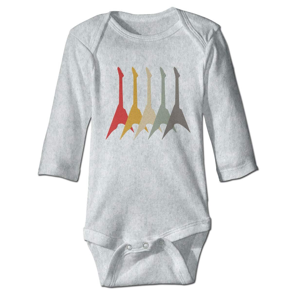 Vintage Electric Guitar Retro Newborn Baby Long Sleeve Bodysuit Romper Infant Summer Clothing