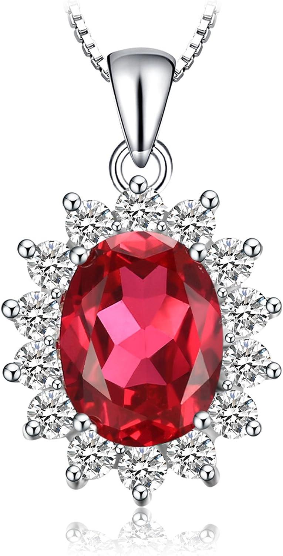 JewelryPalace Colgante Princesa Diana William Kate Middleton Vintage Oval Piedra Preciosa Halo Collar Plata de ley 925 cadena de caja 45cm