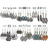 36 Pairs Fashion Drop Dangle Earrings Set for Women Girls Vintage Bronze Statement Bohemian Stud Earrings with Pearl…