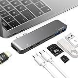 "USB C ハブ 7in1 Type C adapter MacBook Pro Hub 変換アダプタ 2016/2017 13""/15"" Thunderbolt 3 充電ポート 4K HDMI USB-Cx1 USB 3.0x2 SD&Micro SDカードリーダー 革ケース付き"