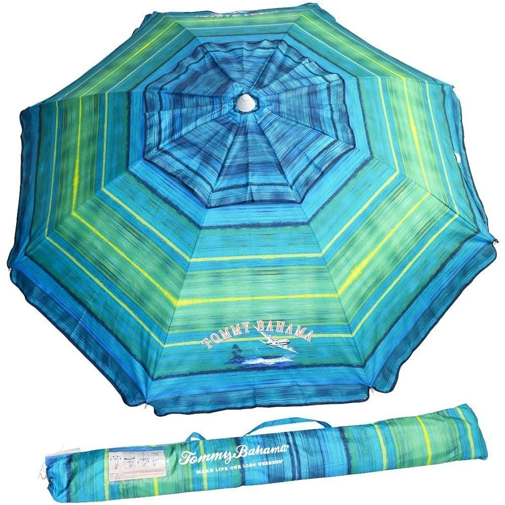 Tommy Bahama Sand Anchor Beach Umbrella FPS100 Green Blue