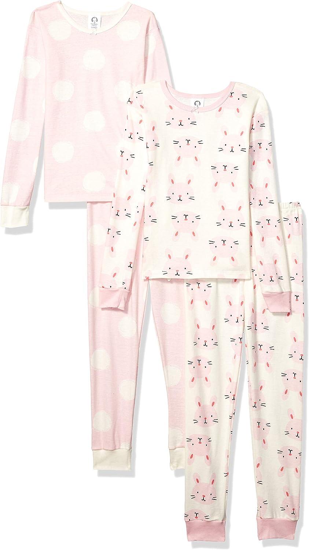 GERBER Baby Girls' Toddler Organic 2 Pack 2-Piece Cotton Pjs