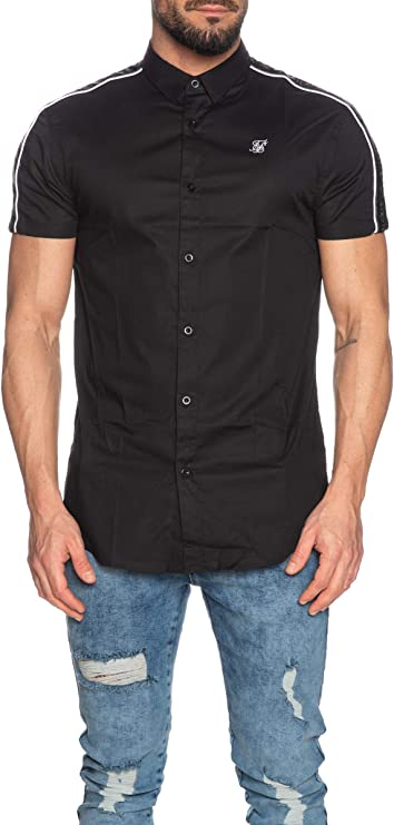 Sik Silk - Camisa Siksilk 15876 S/S Piped Tape Shirt Black - SS15876 - Black, Small: Amazon.es: Ropa y accesorios