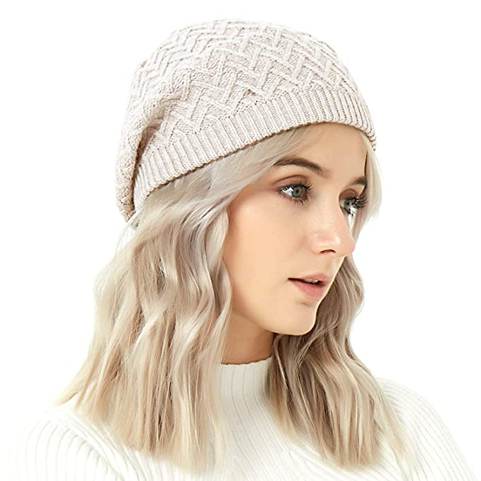 6729cb57e6d8d IKEPOD Merino Wool Beret Hat - Women Knitted Braided Crochet Chic French  Beanie