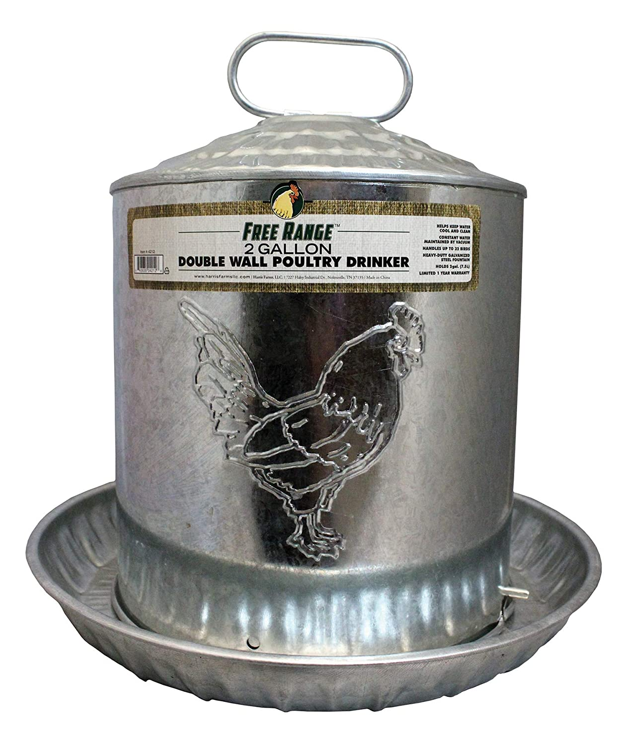 Harris Farms Galvanized Double Wall Poultry Drinker 2 Gallon