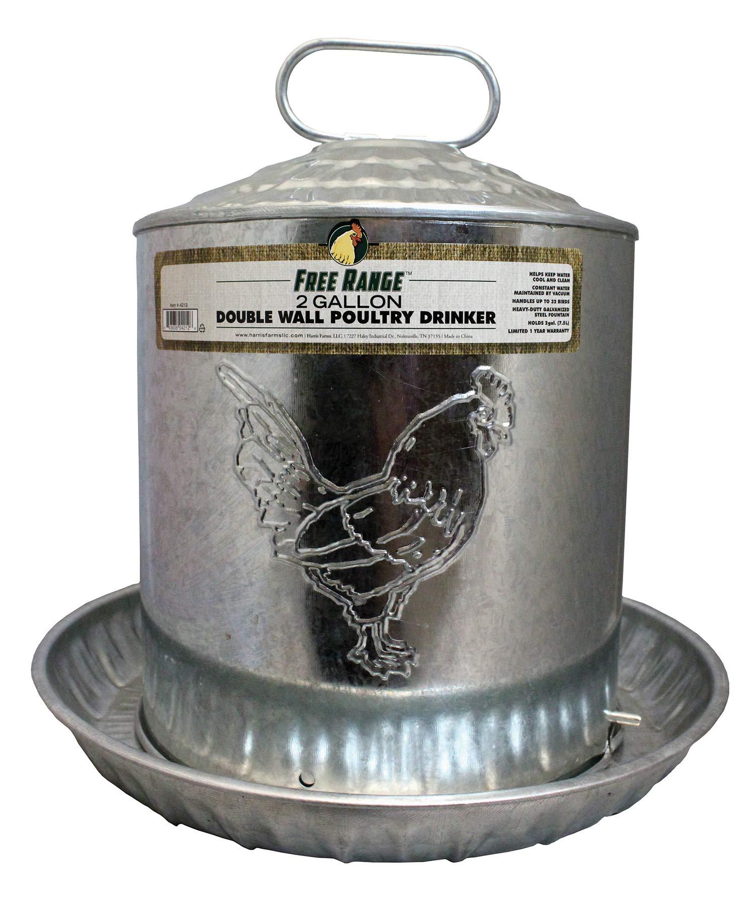 HARRIS FARMS 1000263 Free Range Galvanized Double Wall Poultry Drinker, 2 Gallon, Silver by Harris Farms
